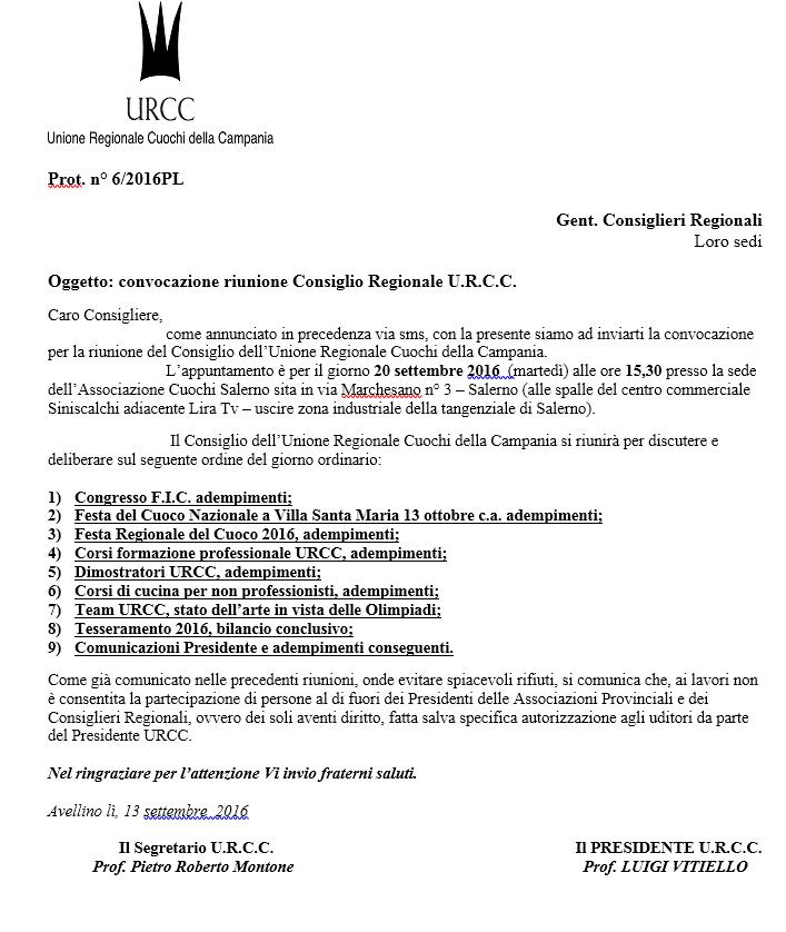 CONSIGLIO DIRETTIVO U.R.C.C.