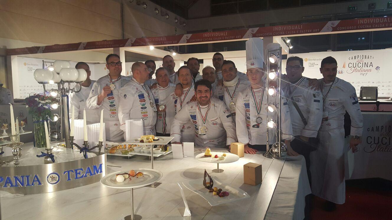 Campionati cucina italiana 2017 - Campania Team oro assoluto e Campione d'Italia per la categoria sq